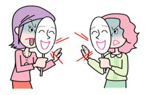 Маска эмоций – поведение, демонстрируемое окружающим – Татэмаэ (建前 Tatеmae) и истинные чувства или желания человека, которые могут быть показаны только близким друзьям – Xоннэ (本音 Honne)