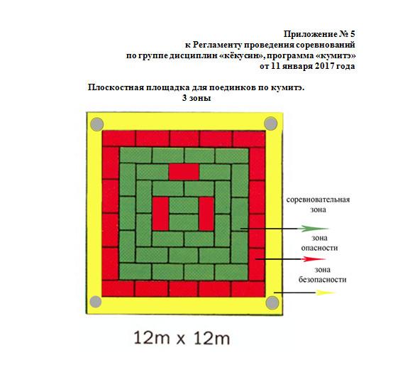 Плоскостная площадка для поединков по кумитэ. 3 зоны