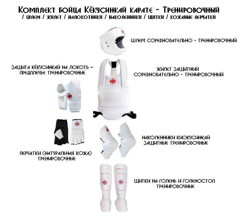 Комплект бойца Кёкусинкай карате - Тренировочный / шлем / жилет / налокотники / наколенники / щитки / кожаные перчатки