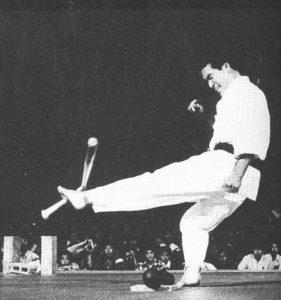 Рояма первым придумал трюк с разбиванием бейсбольной биты лоу-киком