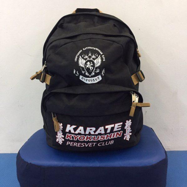 Рюкзак Киокушинкай. Помещается кимоно и защита полностью, плюс остаётся передний кармашек под зачёты и нормативы