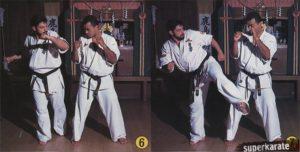 6-7. Имитируя дублирующий лоу-кик изменяем его траекторию и проносим свою ногу не задевая ногу соперника.