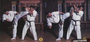 8-9. Пронос и инерцию своей ноги используем для выполнения удара ура-маваши джодан