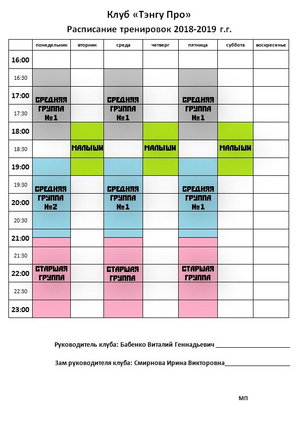 Расписание тренировок клуба «Тэнгу Про» - Подготовка бойца Кёкусинкай карате. Мурманск