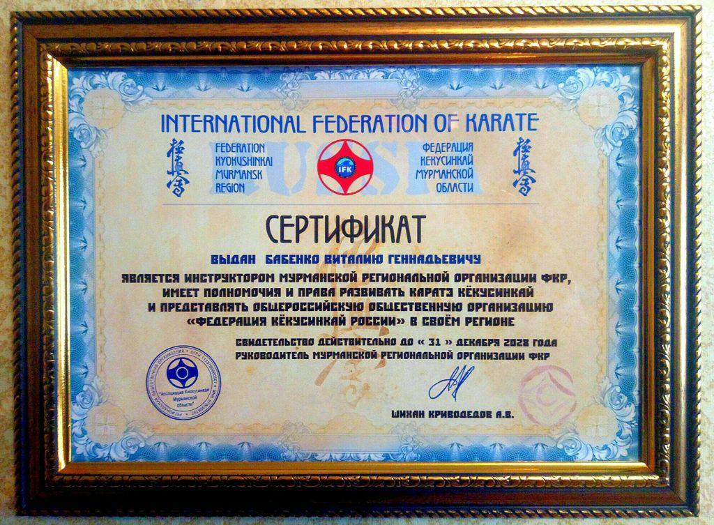 Сертификация инструкторов Федерации Кёкусинкай Мурманской области (ФКМО)